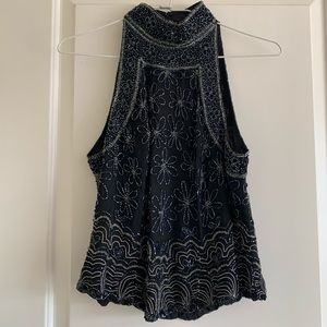 Vintage beaded high neck top